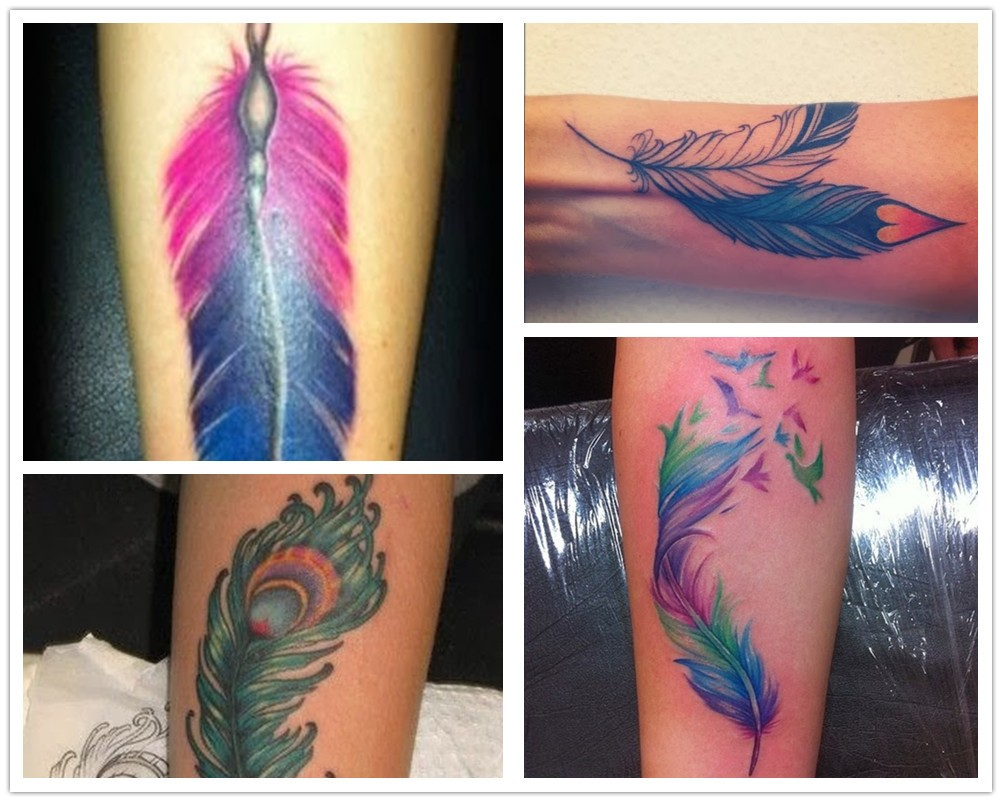 2014 colorful forearm watercolor feather tattoo - flying birds heart peacock feather-f95576