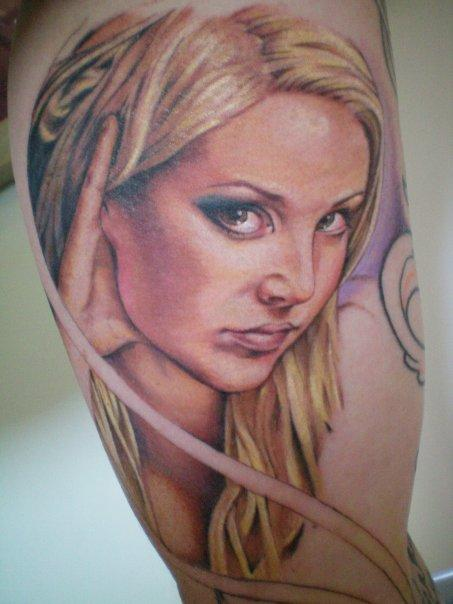 Pretty-Blonde-Girl-Portrait-Tattoo-by-Sam-Cook