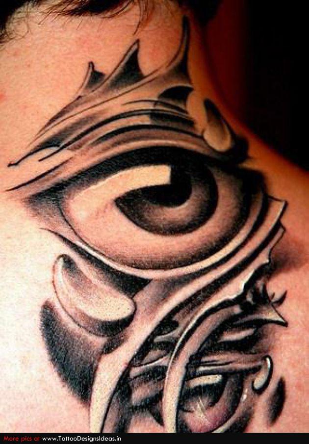 biomechanical-eye-tattoo-on-neck-back