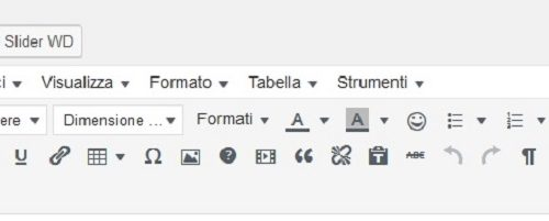 Ripristinare la Editor Visuale Tool Bar di Word Press